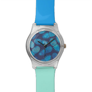 Blue Tie Dye Pineapples Wristwatches