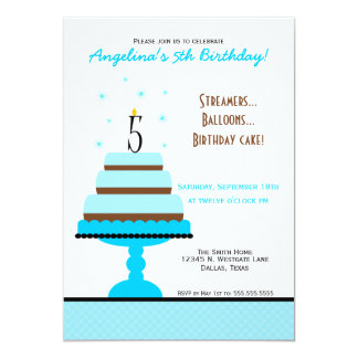 Blue Tiered Cake 5th Birthday Party Invitation