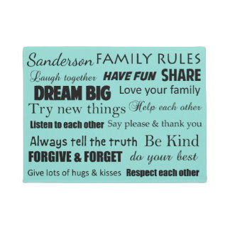 Blue Tiffany Family Rules Personalized Door Mat