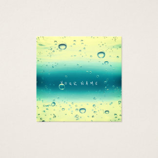 Blue Tiffany Yellow Paint Watercolor Ocean Balls Square Business Card