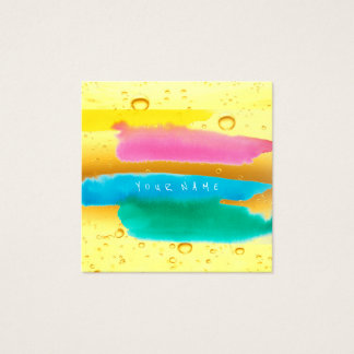 Blue Tiffany Yellow Paint Watercolor Ocean Square Business Card