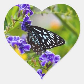 Blue tiger butterfly heart sticker