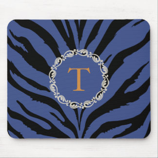 Blue tiger print with monogram mouse pad