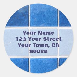 blue tile address labels round sticker