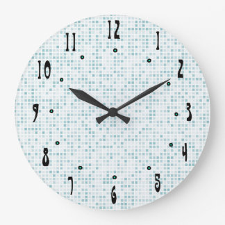 Blue Tile by Julie Everhart Large Clock