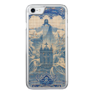 Blue tile mosaic of jesus, Portugal Carved iPhone 7 Case