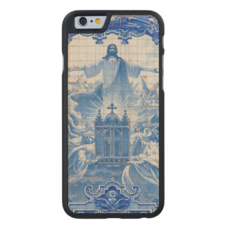 Blue tile mosaic of jesus, Portugal Carved Maple iPhone 6 Case