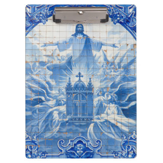 Blue tile mosaic of jesus, Portugal Clipboards