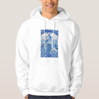 Blue tile mosaic of jesus, Portugal Hoodie