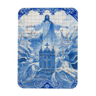 Blue tile mosaic of jesus, Portugal Magnet