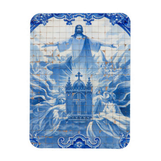Blue tile mosaic of jesus, Portugal Rectangular Photo Magnet