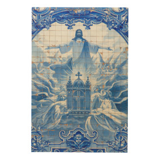 Blue tile mosaic of jesus, Portugal Wood Print