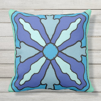Blue Tile on Green Throw Pillow