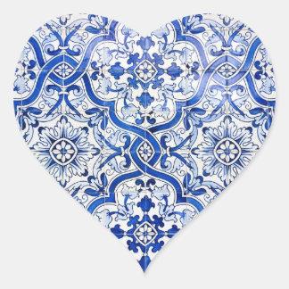 Blue Tile Portuguese Azulejo Heart Sticker