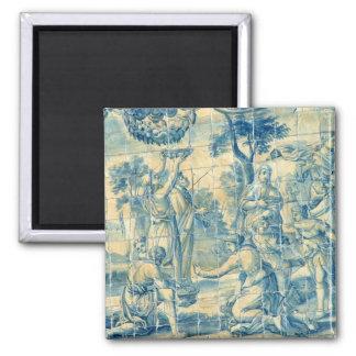 Blue tile square magnet