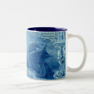 Blue tile Two-Tone coffee mug