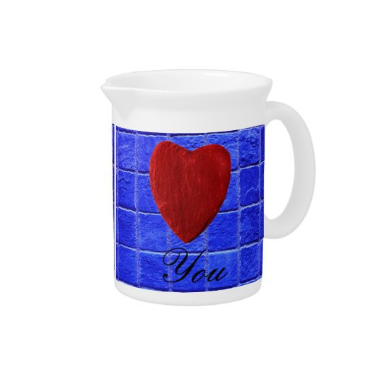 Blue tiles background Love you Drink Pitchers