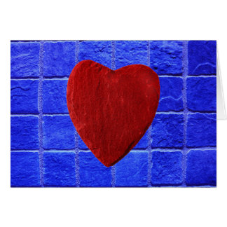 Blue tiles background with heart card
