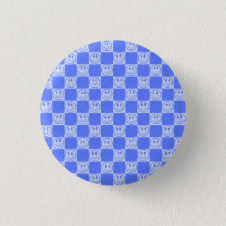 Blue Tiles with Smiles 1 Inch Round Button