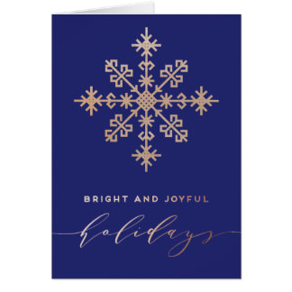 Blue Timeless Faux Gold Bright And Joyful Holidays Card