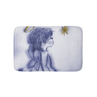 blue tint angel wishing bath mat