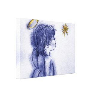 blue tint angel wishing canvas print
