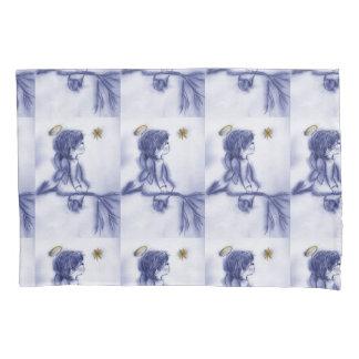 blue tint angel wishing pillowcase