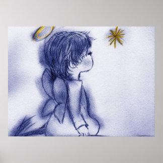 blue tint angel wishing poster