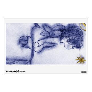 blue tint angel wishing wall sticker