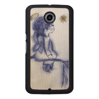 blue tint angel wishing wood phone case