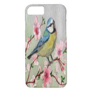 Blue Tit Bird On Cherry Blossom Tree Watercolour iPhone 8/7 Case