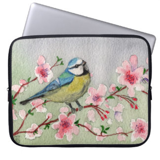 Blue Tit Bird On Cherry Blossom Tree Watercolour Laptop Sleeve