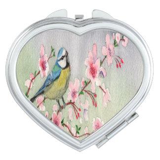 Blue Tit Bird On Cherry Blossom Tree Watercolour Makeup Mirror