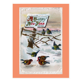 Blue Tits and Goldfinches Vintage New Year Postcard