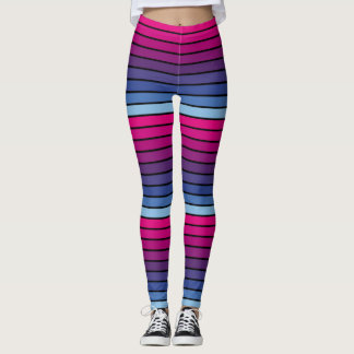 Blue To Pink Gradient Striped Leggings