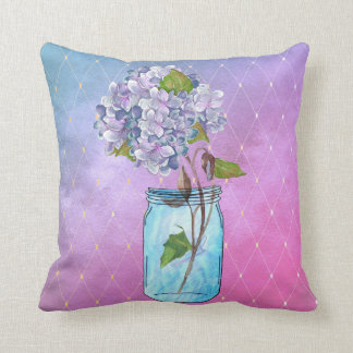 Blue to Violet Latticed Hydrangea in Blue Jar Throw Pillow