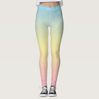 Blue to Yellow to Pink Multicolored Leggings