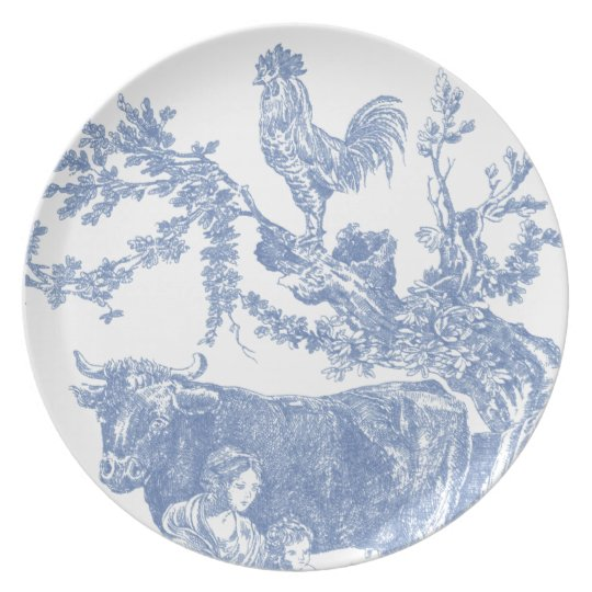 Blue Toile - Cow & Roster Plate
