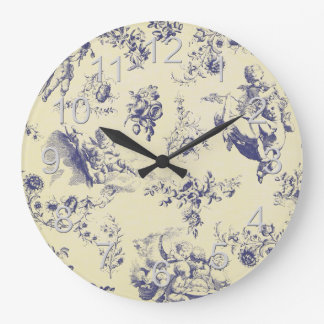 Blue Toile French Country Cherub Pattern Large Clock