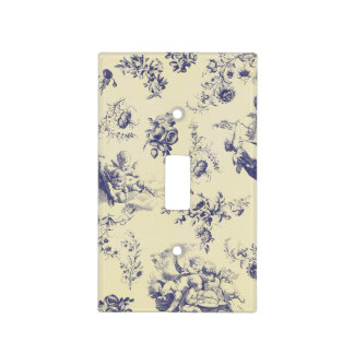 Blue Toile French Country Cherub Pattern Light Switch Cover