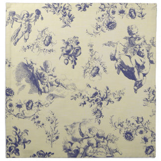 Blue Toile French Country Cherub Pattern Napkin