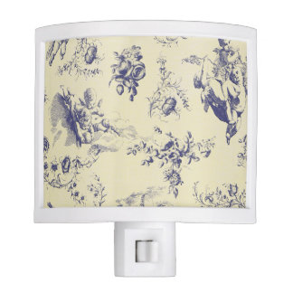 Blue Toile French Country Cherub Pattern Nite Light