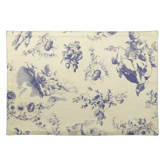 Blue Toile French Country Cherub Pattern Placemat