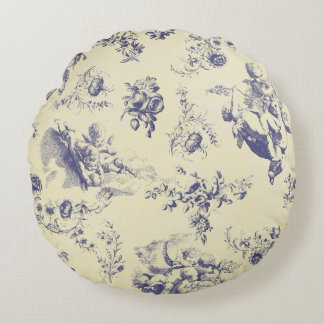 Blue Toile French Country Cherub Pattern Round Pillow