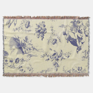 Blue Toile French Country Cherub Pattern Throw Blanket
