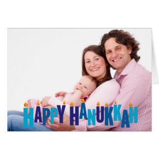 Blue Tonal Hanukkah Candle Lights Card