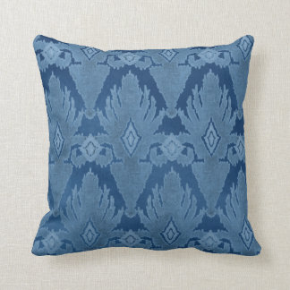 Blue Tone on Tone IKAT Damask Moroccan Pattern Art Throw Pillow