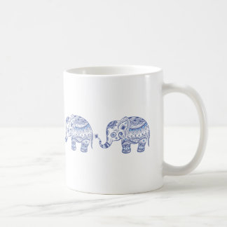 Blue Tones Glitter Floral Elephant Design Coffee Mug