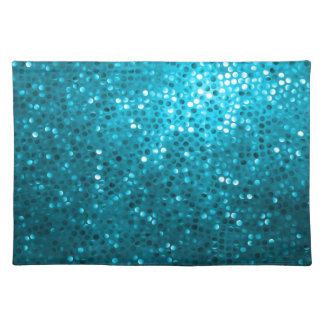 Blue Tones Retro Glitter And Sparkles Placemat