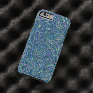 Blue Tones Vintage Ornate Paisley Fabric Pattern Tough iPhone 6 Case